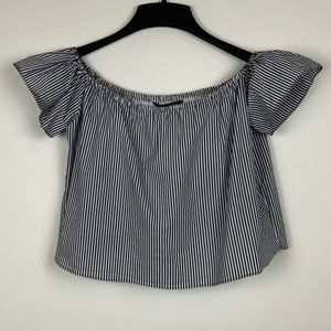 ZARA BASIC STRIPED TOP OFF THE SHOULDER SMALL